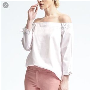 Banana Republic white off-the-shoulder top